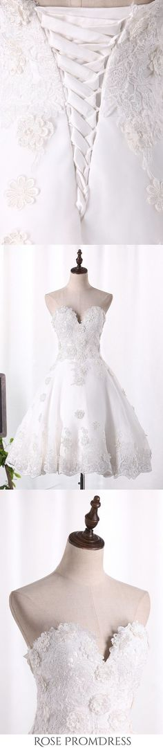2019 A Line Organza Wedding Dresses Sweetheart With Handmade Flowers, This dress could be custom made, there are no extra cost to do custom size and color Chic Wedding Dresses, Wedding Dress Organza, Sweetheart Wedding Dress, Boho Wedding, One Shoulder Wedding Dress, Prom Dresses, Handmade Flowers, Short Prom, Color