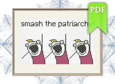 Excited to share the latest addition to my #etsy shop: Smash the partiarchy #feminist #crossstitch  #modernxstitch