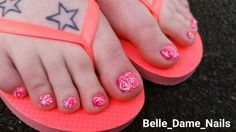 Fun swirly pink pedicure. By Felicity Burgess-Young at Belle Dame Nails. #BDLADY #nailart #nails
