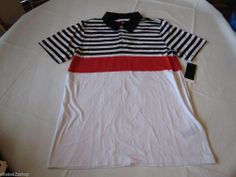 Men's Quiksilver Way Out Polo stripe shirt surf skate L WBB4 White black red #Quiksilver #polo