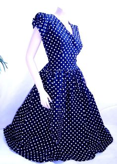 Vintage style navy rockabilly 50s polka dot dress by piyuspret, $45.00