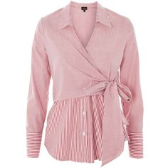 Topshop Tie Wrap Poplin Shirt (1 155 UAH) ❤ liked on Polyvore featuring tops, red, long-sleeve shirt, red stripe shirt, red top, pink collared shirt and collared shirt