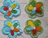 ONE PAIR Hippy Bead and Sequin Appliques Blue or Green Multicolor