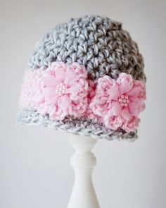 Crochet Newborn - 3 months Grey and Pink Beanie. $12.00, via Etsy.