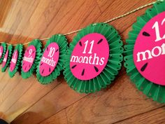 Watermelon party decor- month by month watermelon banner- monthly picture banner