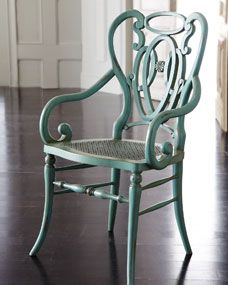 Green Scroll Armchair - Horchow from Horchow. Saved to Furniture and Decor. Shop more products from Horchow on Wanelo. Accent Furniture, Cool Furniture, Painted Furniture, Painted Wood, Vintage Furniture, Turquoise Chair, Traditional Chairs, Traditional Dressers, Refurbished Furniture