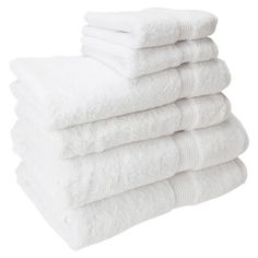 Set of 6 Egyptian cotton towels in white. Includes 2 bath towels, 2 hand towels, and 2 face towels.         Product: 2 Face to...