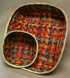Jewel Toned Twill Basket - Learn from Anne Bowers at the 2014 Stowe Basketry Festival!