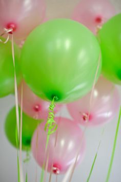 pink and green baby shower | Lime green and pink balloons - every shower needs balloons!!