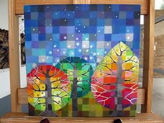 Love this stained glass/quilt look for a barn quilt. High School Art, Middle School Art, Stained Glass Quilt, Warm And Cool Colors, Ecole Art, Landscape Quilts, Collaborative Art, Art Lessons Elementary, Elements Of Art