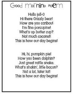 Good Morning poems! Cute for shared reading time