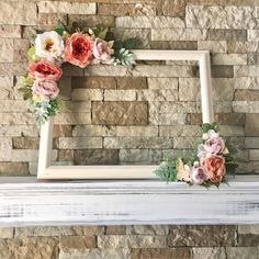 This beautiful customized x floral photo prop frame AKA selfie frame is perfect to use for any rustic style wedding, birthday party, bridal shower baby shower and more! It is made of a frame and plenty of silk flowers/greenery so its beau Cadre Photo Booth, Rustic Photo Booth, Diy Photo Booth, Home Made Photo Booth, Photo Booth Wedding, Party Photo Frame, Photo Frame Prop, Picture Frame, Bridal Shower Photos