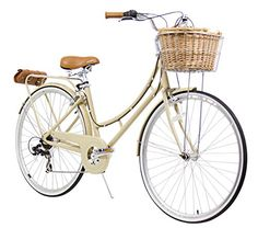 """Vintage Fashion and Lifestyle XDS Nadine City 7-Speed Step-Through Bicycle (w/ Front Basket, Rear Rack, Bag), 17""""/700C"""