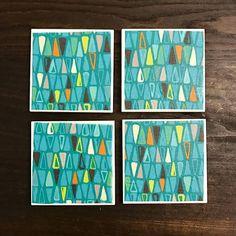 Coasters  Teal Triangles  Handmade Ceramic Tile Coasters
