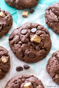 These thick and chewy double chocolate chip cookies are packed with Reese's peanut butter flavor! They're killer.