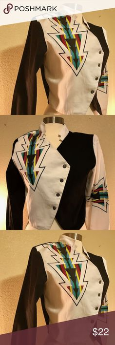 Vintage 80s Style Fitted Bolaro Jacket Black and white jacket with color Aztek design.  100% cotton. Medium.  Great condition. Alamosa Jackets & Coats Blazers