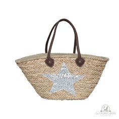 Bag Star - Borsa in paglia naturale intrecciata con stella di strass argento, capiente, con fodera interna e manici in pelle.