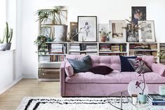 Home decor, colourful purple sofa in contemporary living room