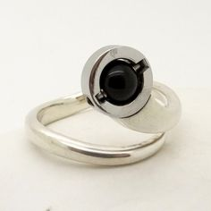 Black Onyx & Sterling Silver Ring Size 9, Modernist Design Unisex Jewelry, Handcrafted Artisan Jewelry, Big Size Ring, Birthstone of August at VintageArtAndCraft