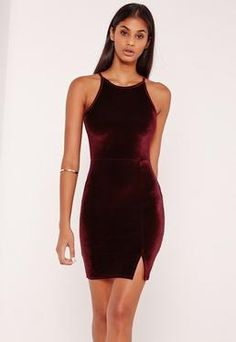 90's Neck Split Hem Velvet Bodycon Dress Burgundy