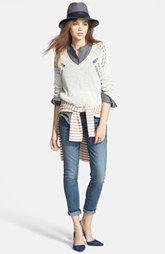 Paige Denim Shirt, Maison Scotch Tee, Treasure&Bond Sweater & Jeans