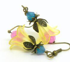 tulip earrings lucite flower