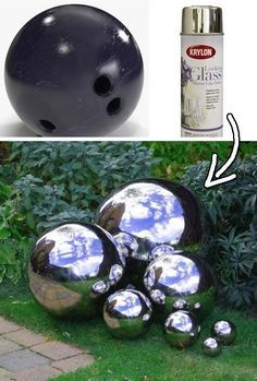 23. Decorate your garden with the mirrored gazing balls painted from used bowling balls. | 30 Low-Budget Makeovers You Could Do With Spray Paint