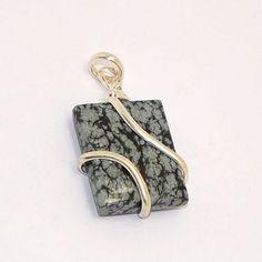 Manirathnum Snowflake Obsidian Gemstone 925 Sterling Silver Plated Pendant Jewelry #Gopal, #Daily