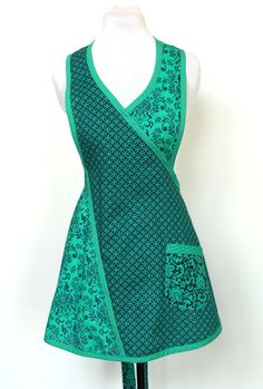 Fun and Flirty Blue, Teal, Aqua Colors Cotton Apron with one pocket - Petite Size
