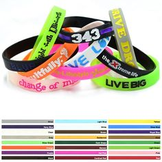 Promotional 1/2-inch Colorfilled Silicone Wristbands | Customized 1/2-inch Colorfilled Silicone Wristbands | Promotional Silicone Bracelets