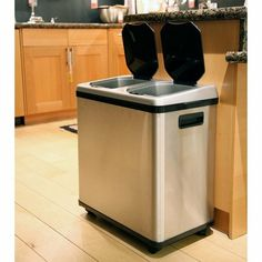 iTouchless 16 Gallon Dual Compartment Stainless Steel Kitchen Recycle/Trash Can!
