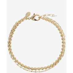 Express Braided Metal Anklet ($20) ❤ liked on Polyvore featuring jewelry, gold, metal charms, lobster claw clasp charms, beaded anklets, anklet jewelry and charm jewelry