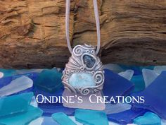 Larimar,  Rough Blue Zircon Crystal Mineral Healing Stone Hand Crafted Pendant #100 by OndinesCreations on Etsy