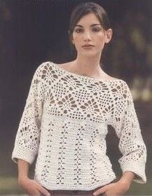 White v neck long sleeve top free crochet graph pattern crochet ecru 34 length sleeve top with diamond motif free crochet graph pattern dt1010fo