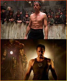 Robert Downey Jr. as Sherlock Holmes (top) and Tony Stark.