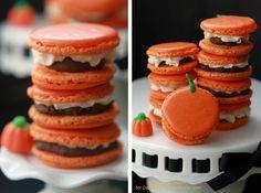 Pumpkin Buttercream Filled Macarons with Pumpkin Spice Dark Chocolate Ganache