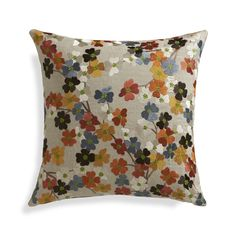 A profusion of pansy-like flowers bloom springtime color on natural linen. This beautiful pillow gets a slight sheen from rayon embroidery, reversing to plush cotton velvet in solid orange. Our decorative pillows include your choice of a plush feather-down or lofty down-alternative insert at no extra cost.<br /><br /><NEWTAG/><ul><li>100% linen with 100% rayon embroidery</li><li>Placket zipper</li><li>Knife-edge tailoring</li><li>Feather-down insert: 95% white duck feather, 5% white down…