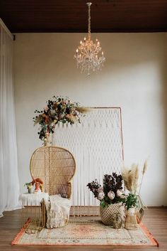 Backdrop backyerd arrangement Bohemian Vibes with Allure Bridals x Wilderly Bride Trendy Bohemian Wedding Decorations ❤️ bohemian wedding decorations bohemian chair macrame backdeop pampas grass flowers and carpet lauren rae photography We have collec Bohemian Wedding Decorations, Bridal Shower Decorations, Bohemian Decor, Boho Wedding, Dream Wedding, Wedding Country, Wedding Bride, Wedding Ceremony, Bohemian Backdrop