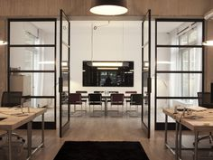 Glass pivot partition wall Glass movable wall by FritsJurgens