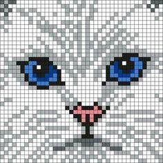 White_Persian_Cat by Maninthebook on Kandi Patterns - Cats Love Cat Cross Stitches, Cross Stitching, Cross Stitch Embroidery, Cross Stitch Patterns, Pixel Pattern, Cat Pattern, Crochet Pixel, Tapestry Crochet Patterns, Kandi Patterns