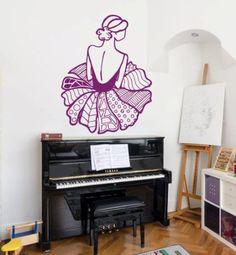 Wall Decals Ballerina Ballet Girl Dress Doodle Vinyl Decal Sticker Home Décor Bedroom Nursery Room Living Room Dance Studio Murals S41