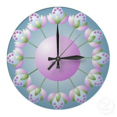 Pink Blue and Green Flower Bud Wall Clock Pink Blue, Blue Green, Green Flowers, Flower Wall, Bud, Clock, Create, Design, Watch