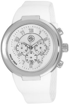 Philip Stein Men%27s 32-AW-RW Active White Rubber Strap Watch