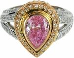 Cassius Two Tone 2 Carat Bezel Set Pear Cubic Zirconia Pave Halo Ring by Ziamond. #ziamond #cubiczirconia #bezel #pink #pear #engagement #ring Pear Ring, Halo Rings, 2 Carat, 18k Gold, Engagement Rings, Diamond, Pink, Enagement Rings, Wedding Rings