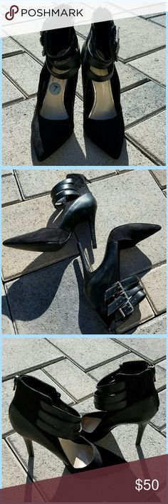 """Ankle-strap Pumps Leather/Suede material // 3-buckle strap ankle closure // Zipper closure in back // Size 7M // Pointy-toe // 4"""" height // Black color // NWT // Jessica Simpson brand Jessica Simpson Shoes Heels"""