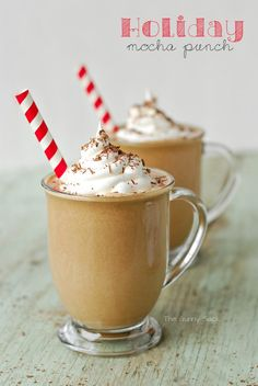 It's time to start sharing Christmas recipes! Today's easy dessert recipe is a Frosty Mocha Punch to serve with holiday desserts.