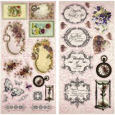 Victorian CHIPBOARD STICKERS, Adhesive Chipboard, Victorian Stickers, Victorian Floral Stickers, Hearts Ease, Pansies Stickers, Chipboard by OneDayLongAgo on Etsy