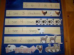 How many farm animals pocket chart