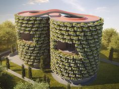 Nudes' plan for the school is to build a conjoined pair of six-storey cylindrical towers wrapped in greenery, with a looping cycling track on the roof. Education Architecture, Architecture Design, Amazing Architecture, Pune, Mumbai, Vertical Forest, Green Facade, Nude Tops, India School