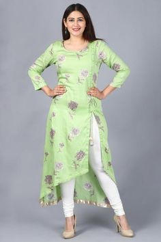 "A strong woman understands that the gifts such as logic, decisiveness, and strength. use your strength wearing this ""Pista Green Floral Asymmetrical Side Slit Kurti with Churidaar"" added to Rang Bahaar Collection – SkillOfKing. Salwar Designs, Printed Kurti Designs, Kurta Designs Women, Kurti Designs Party Wear, Plain Kurti Designs, Silk Kurti Designs, Designs For Dresses, Dress Neck Designs, Blouse Designs"